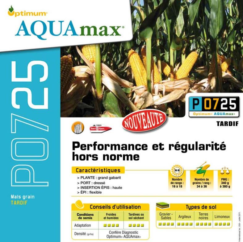 Photo du Variétés de maïs grain P0725 Aquamax