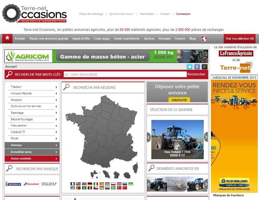 Photo du Sites internet de matériels agricoles d'occasion Terre-net Occasions