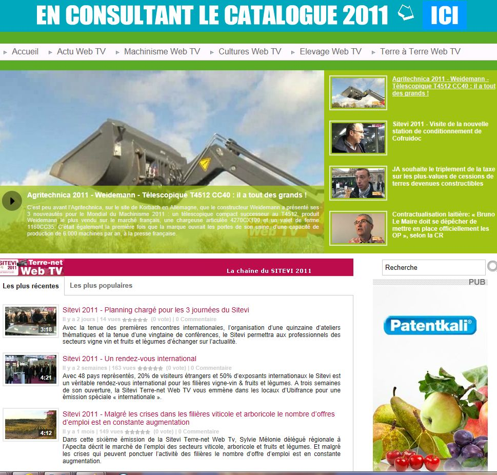 Photo du sites internet généralistes terre-net-webtv.fr