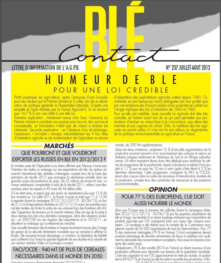 Photo du lettres, magazines promotionnels Blé Contact