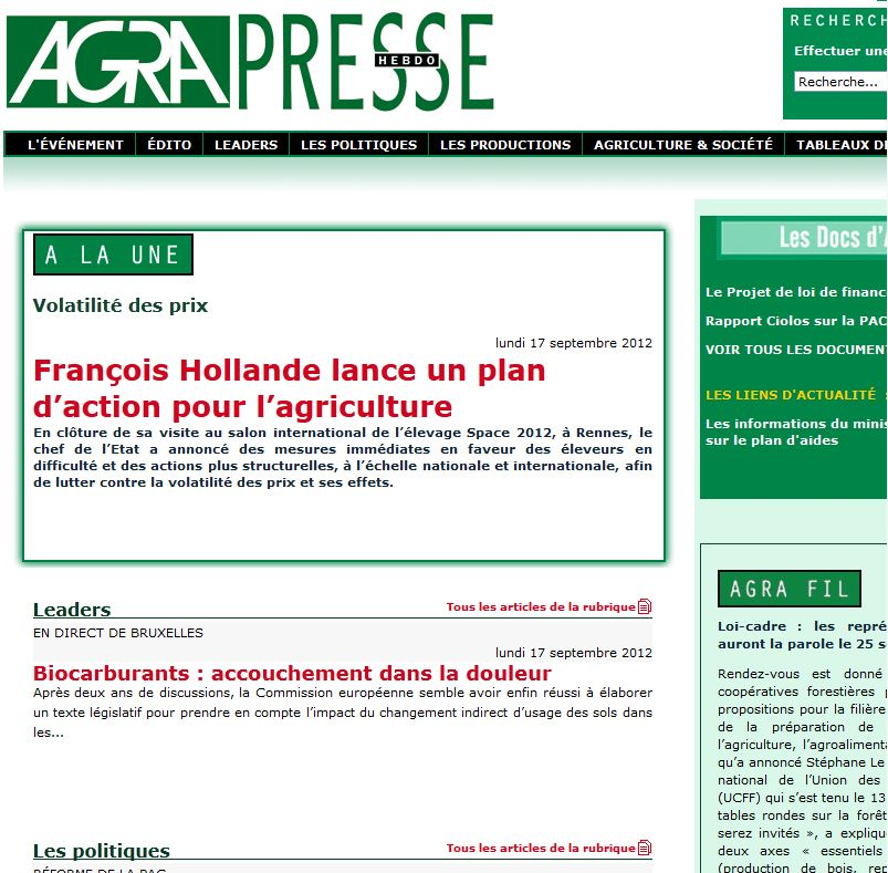 Photo du magazines, journaux agricoles Agra Presse