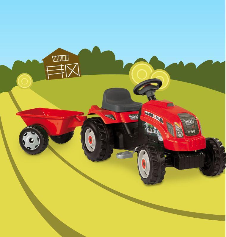 Avis tracteur gm rouge remorque de la marque smoby - Remorque tracteur enfant ...