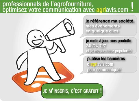 Créez gratuitement votre compte PRO, c'est simple & rapide ! Profitez de la puissance d'AgriAvis.com et bénéficiez d un large choix de solutions pour optimiser votre communication locale. Je référence ma société, mes événements en quelques clics. Je mets à jour mes produits 24h/24, 7j/7. Je mesure la popularité de mes produits. Je m'inscris, c'est gratuit !